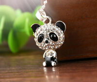 Silver Panda Rhinestone Pendant Necklace Jewelry