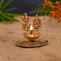 Laxmi Ganesha Idol Oil Lamp Diya Deepak Metal Statue For Puja Decor Diwali
