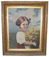 Important cadre, Peinture 19em portrait d'enfant 82x67cm