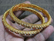2 Designer Rare Filigree Red Green Polki CZ Bangle Bracelet Bridal Jewelry 2.6
