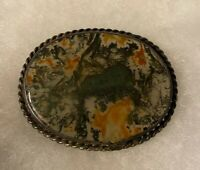 Antique Victorian Moss Agate Sterling Silver Brooch