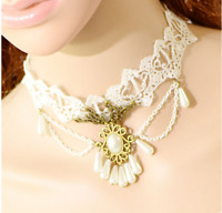 Vintage Cameo Victorian White Lace Necklace Choker Collar Steampunk Pendant