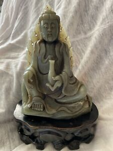 Antique Large Carved Celadon Nephrite Jade Statue Of Kwan Yin