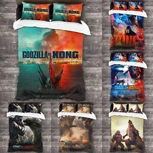Godzilla VS Kong 3Pcs Bedding Set Duvet Cover Pillowcases Comforter Cover