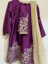 Indian Pakistani Silk Shalwar Kameez,  with Zare Embroidery