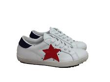scarpe sneakers basse uomo donna Via Condotti pelle bianco blu stella rossa