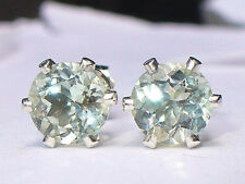 NEW Silver EARRINGS 5mm VVS+ 3/4ct each RARE Flashy Mint Green OLIGOCLASE