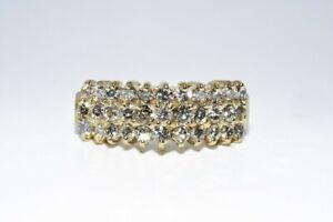 $2,000 .95CT NATURAL ROUND CUT WHITE DIAMOND 3 ROW RING 14K YELLOW GOLD