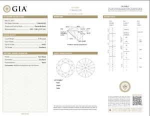 0.72 Carat Loose J / VVS2 Round Brilliant Cut Diamond GIA Certified
