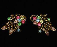 Vintage Coro Pastel Rhinestone Earrings