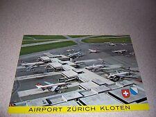 1960s SWISSAIR AIRLINES at ZURICH AIRPORT SWITZERLAND VTG POSTCARD