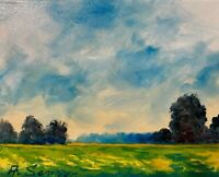 Sunny meadows Clouds Sky Landscape Original Oil Painting Impressionist