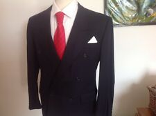MENS  NEXT NAVY  WOOL DOUBLE BREASTED SUIT S44 W34 30L PLEATED TURN UPS