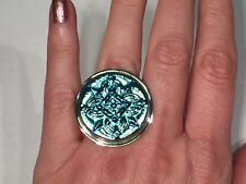 Designer Amy Russell Czech Bright Blue Glass Button Silver Ring Size 7