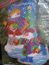 Dimensions Christmas STOCKING FELT Applique Holiday Kit,SKATING SNOWMEN,#8092