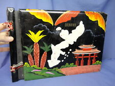 WWII Okinawa Souvenir Hand Painted Photo Album