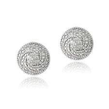 925 Silver 1/10ct Diamond Round Spiral Stud Earrings