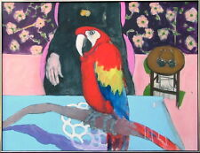 RICH COROZINE b.1943 NEW PALTZ NEW YORK MODERN POP ART PARROT LARGE OIL PAINTING
