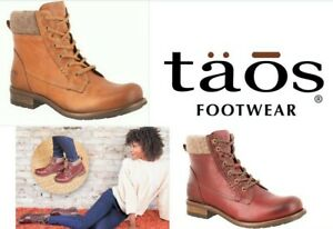 Taos Shoes leather lace up boots with zip on low heel - Taos Footwear Cutie