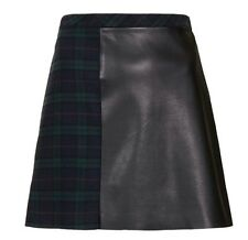 TOPSHOP green tartan check and faux leather ALine mini skirt size 10 euro 38