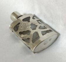 """Vintage Mexico Taxco Sterling Silver Overlay Perfume Bottle 2.50"""" Tall"""