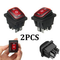 2x Waterproof 3-Position Rocker Switch Red LED ON/OFF/ON 6-Pin DPDT AC 10A/250V