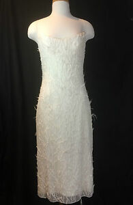 MONIQUE LHUILLIER COUTURE SHORT SILK CREPE DRESS HAND SEWN BEADS AND FEATHERS