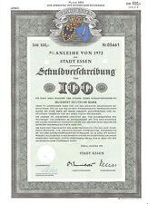 Essen  histor. dekorativ Stadt  DM Anleihe 1972 Nordrhein-Westfalen NRW Wappen