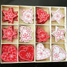 28x Christmas Snowflakes Wooden Pendants Xmas Tree Ornaments Home Hanging Decor