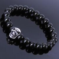 Mens Living Silver Skull Energy Bracelet Reiki Black Obsidian Root Chakra Stones