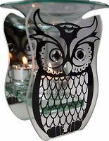 Glass Fragrance Oil Burner & Tealight Holder Yankee Wax Melt Tart Warmer Owl New
