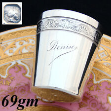 """Antique French Sterling Silver Mint Julep Cup, Tumbler, Timbale, """"Denise"""", Eagle"""