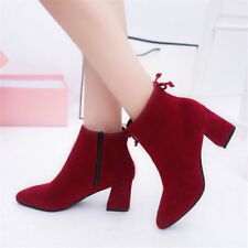 Women's Martin Ankle Short Boots High Heel Pointed Toe Chunky Heels Zipper Shoes