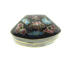 Vintage Chinese Enamel Cloisonne Pill Box Hinged Black Floral 1x1.5'