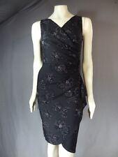 $229 ALEX EVENINGS BLACK Sleeveless Ruched DRESS Size 2 Cascading Ruffle