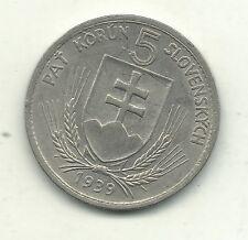 HIGH GRADE 1939 WW II SLOVAKIA 5 KORUN COIN-NAZI PUPPET STATE-MAY108