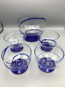 Crate and Barrel Cobalt Blue Swirl Glass Dessert Set - Trifle and 4 Bowls