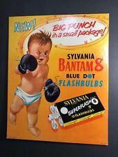 Sylvania Blue Dot Camera Flashbulbs Cardboard Sign 1953 Baby Boxer