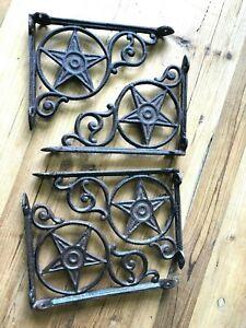 4 Rustic Wall Shelf Bracket Cast Iron Western Star Hanger Brackets Corbels Book