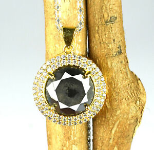 12.98 Ct  Black Diamond Solitaire Gold Finish  Pendant
