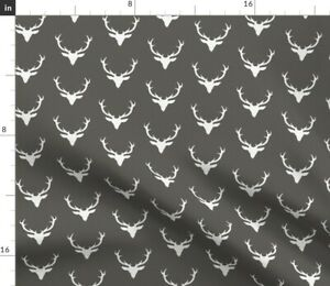 White Textured Deer Gray Buck Stag Woodland Spoonflower Fabric by the Yard