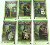 ".EARLY 1900s SET 6 SERIES SAILOR & GIRFRIEND UNUSED ""NATIONAL"" UK ISSUED P/CARDS"