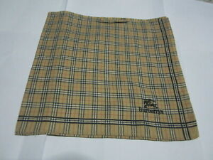 """USED  IVORY PLAID PATTERN COTTON 17"""" POCKET SQUARE HANDKERCHIEF HANKY FOR MEN #2"""