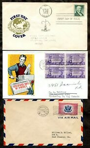 p135 - US Lot of (3) FDC Covers. 1936 Special Delivery, 1952 Boll, 1958 Prexie
