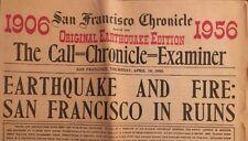 Original Rare 1906 Earthquake San Francisco Chronicle 50th Anniversary Edition
