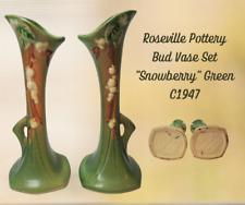 Vintage ROSEVILLE Pottery-Bud Vase Set Of Two-SNOWBERRY Green-C1947