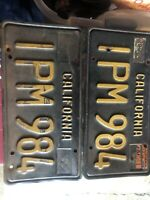 1963 Black And Gold california license plates pair.