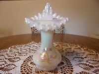 FENTON IRIDIZED OPAL TULIP VASE W/LILY OF THE VALLEY BY FREDRICK