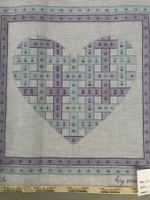 Needlepoint Canvas by Needle-tique Woven Heart Purple Blue Tulips 14x14