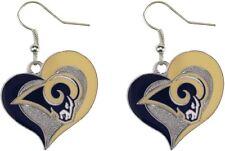 Los Angeles RAMS Swirl Heart Dangle Earrings